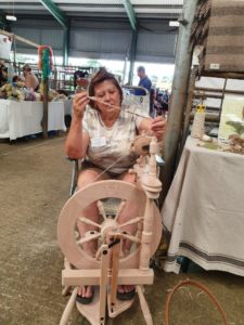 Kathy with spinning wheel