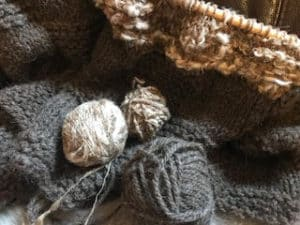 knitting and balls of wool